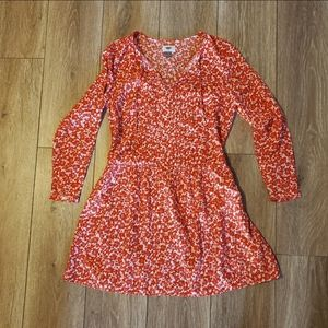 Old Navy Coral Floral Long Sleeve Button Dress